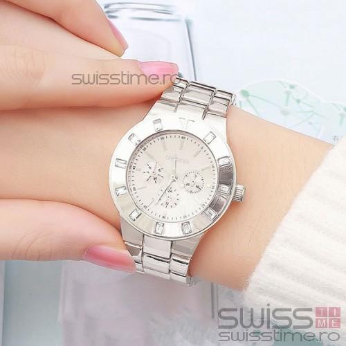 Ceas Dama Quartz Geneva Diamond Deluxe-silver