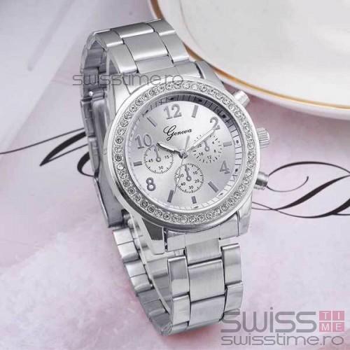 Ceas Dama Quartz Geneva Crystal  -silver