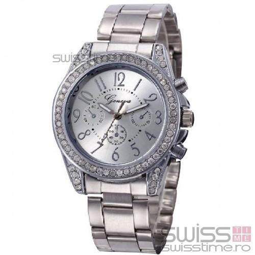 Ceas Dama Quartz Geneva Fine-silver