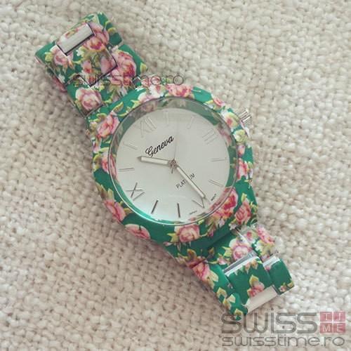 Ceas Dama Quartz Geneva Platinum Blossom-verde