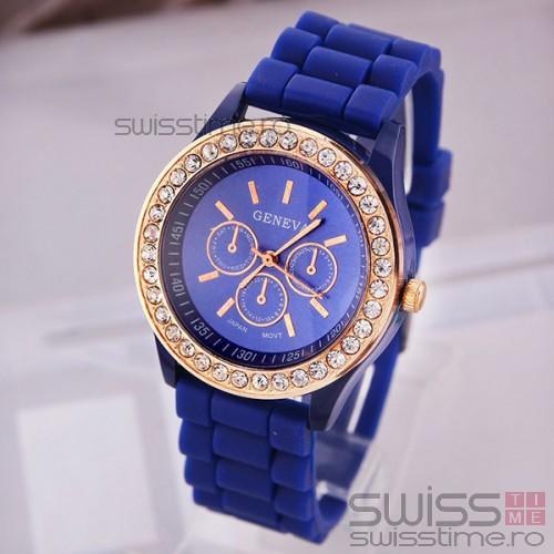 Ceas Dama Quartz Geneva Crystal Joy-albastru