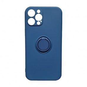 Husa silicon compatibila cu iPhone 12 Pro Max cu inel rotativ eSelect albastru