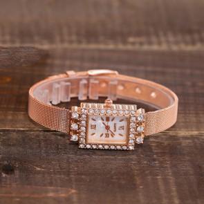 Ceas Dama Quartz Crystal Three Pink