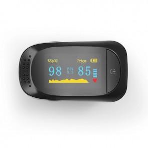 Pulsoximetru medical pentru deget iMDK C101A2, indica nivelul de saturatie al oxigentului, afisaj OLED, Negru