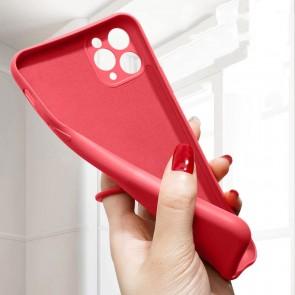 Husa silicon compatibila cu iPhone 12 cu inel rotativ eSelect rosu