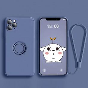 Husa silicon compatibila cu iPhone 12 cu inel rotativ eSelect albastru