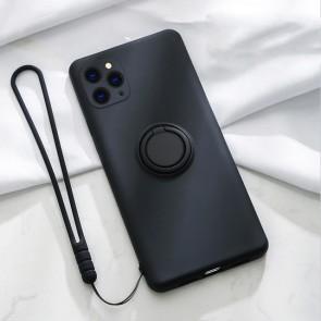 Husa silicon compatibila cu iPhone 12 cu inel rotativ eSelect negru