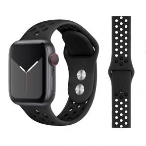 Bratara silicon compatibila Apple Watch 1/2/3/4 42/44 mm M/L 8013ACS-negru