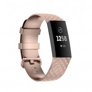 Bratara silicon efect metalizat compatibila Fitbit Charge 3 si Fitbit Charge 4 marime L 8005ACS-rose