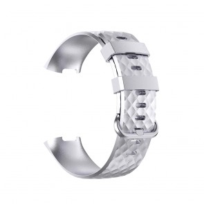 Bratara silicon efect metalizat compatibila Fitbit Charge 3 si Fitbit Charge 4 marime L 8005ACS-argintiu