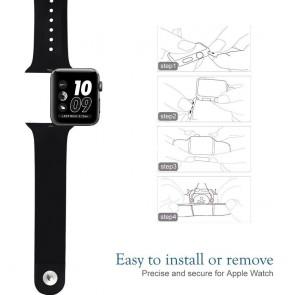 Bratara silicon compatibila Apple Watch 1/2/3/4/5 42/44 mm S/M 8008ACS-negru