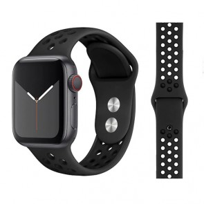 Bratara silicon compatibila Apple Watch 1/2/3/4 38/40 mm M/L 8011ACS-negru