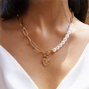 Colier cu perle si pandativ inima 3058COL