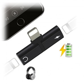 Adaptor iPhone Splitter 2in1 ascultare casti si incarcare separata 13005CBL-negru