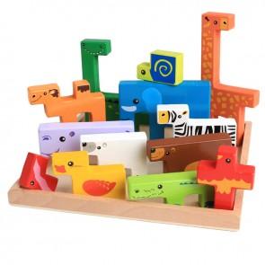 Puzzle lemn tetris animale zoo eSelect
