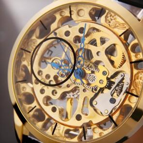 Ceas Mecanic Winner Golden Hollow Transparent