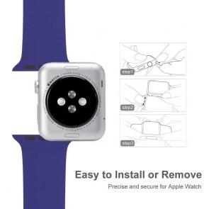 Bratara silicon compatibila Apple Watch 1/2/3/4 38/40 mm M/L 8007ACS-albastra
