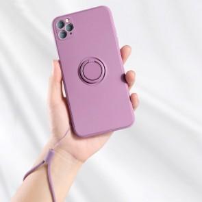 Husa silicon compatibila cu iPhone 12 Pro cu inel rotativ eSelect lila
