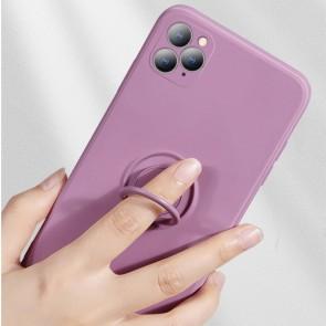 Husa silicon compatibila cu iPhone 12 cu inel rotativ eSelect lila