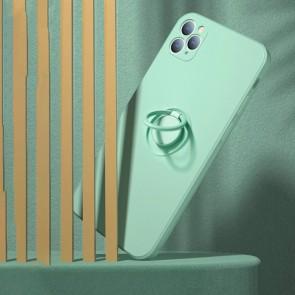 Husa silicon compatibila cu iPhone 12 cu inel rotativ eSelect verde