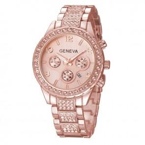 Ceas Dama Quartz Geneva Crystal Glazed-rose