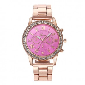 Ceas Dama Quartz Geneva Casual Crystal Rose